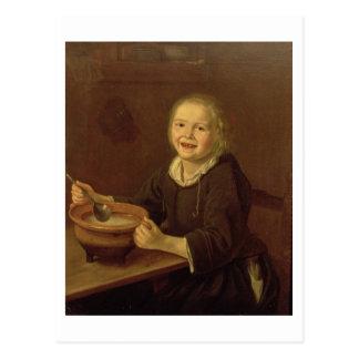 Garçon mangeant du gruau (huile sur la toile) carte postale
