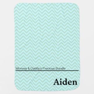 Garçon personnalisé par zigzag de vert bleu couverture pour bébé