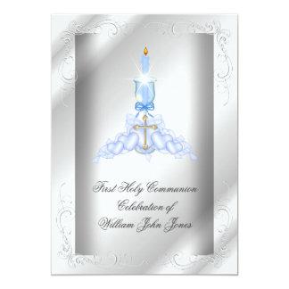 Garçons bleus argentés de première sainte carton d'invitation  12,7 cm x 17,78 cm