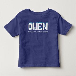 Garçons nom d'Owen et texte de pixels de T-shirt Pour Les Tous Petits