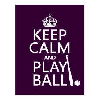 Gardez la boule de calme et de jeu (base-ball) carte postale