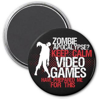 Gardez l'aimant drôle de Gamer d'apocalypse calme Magnet Rond 7,50 Cm