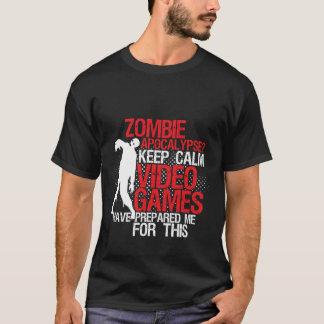 Gardez l'apocalypse drôle calme de zombi de t-shirt