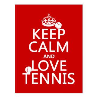 Gardez le calme et aimez le tennis (la couleur de carte postale