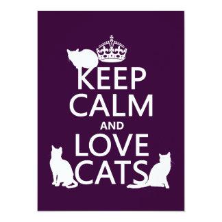 Gardez le calme et aimez les chats (dans toute carton d'invitation  13,97 cm x 19,05 cm