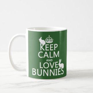 Gardez le calme et aimez les lapins - toutes les mug blanc