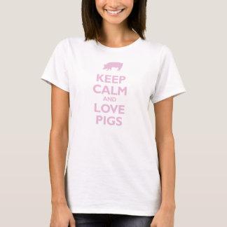 Gardez le calme et aimez les porcs (rose-clair) t-shirt