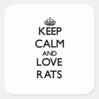 Gardez le calme et aimez les rats autocollants carrés