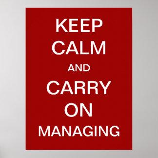 Gardez le calme et continuez contrôler l'énonciati posters