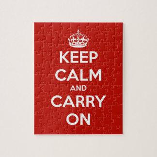 Gardez le calme et continuez le puzzle rouge
