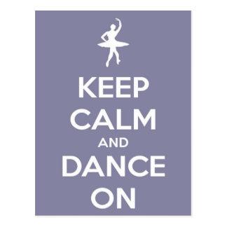 Gardez le calme et dansez sur la carte postale de