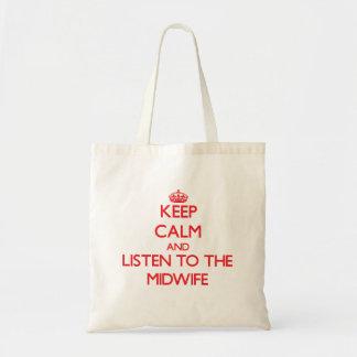 Gardez le calme et écoutez la sage-femme sac en toile budget
