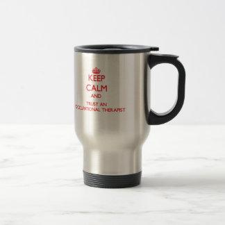 Gardez le calme et faites confiance à un anrapist mug de voyage en acier inoxydable