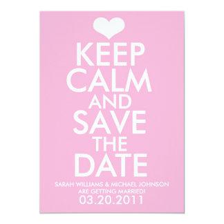Gardez le calme et faites gagner la date carton d'invitation  12,7 cm x 17,78 cm