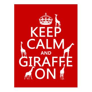 Gardez le calme et la girafe sur (les couleurs de carte postale