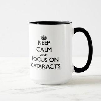 Gardez le calme et le foyer sur des cataractes mug