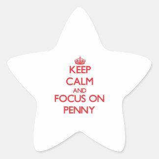 Gardez le calme et le foyer sur le penny autocollant en étoile