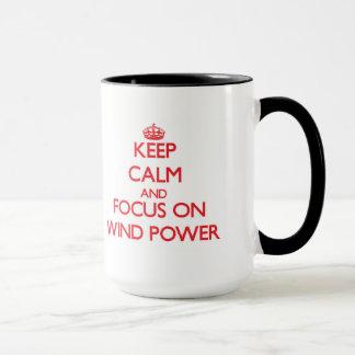 Gardez le calme et le foyer sur l'énergie éolienne mug