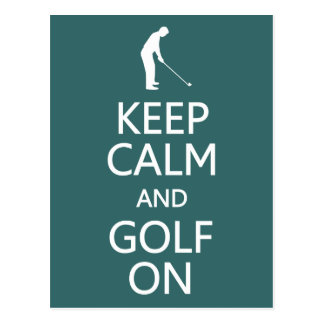 Gardez le calme et le golf sur la carte postale fa