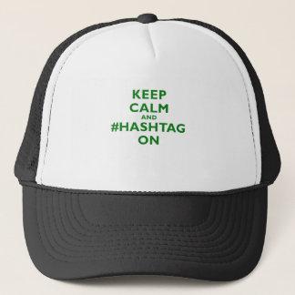 Gardez le calme et le Hashtag dessus Casquette