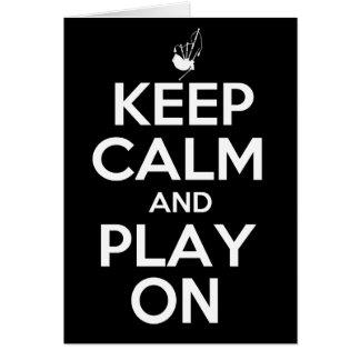 Gardez le calme et le jeu sur des cornemuses carte