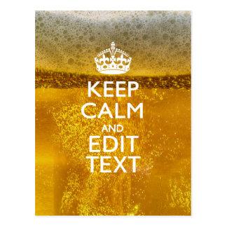 Gardez le calme et votre texte pour de la bière cartes postales