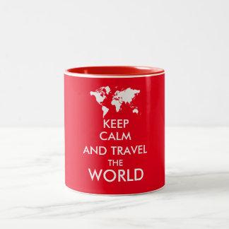 Gardez le calme et voyagez le monde mug
