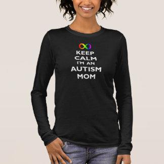 Gardez le calme que je suis une maman d'autisme t-shirt à manches longues