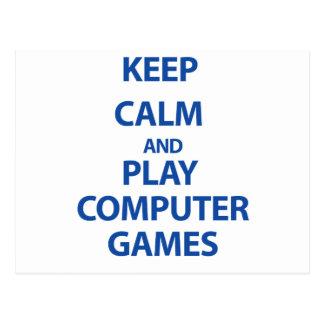 Gardez les jeux d'ordinateur de calme et de jeu carte postale