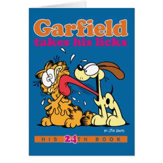 Garfield prend le sien lèche la carte de note
