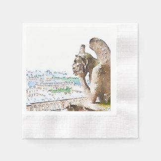 Gargouille d'aquarelle de Notre Dame Serviettes Jetables