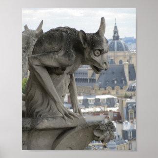 Gargouille de photographie gothique de Notre Dame Poster