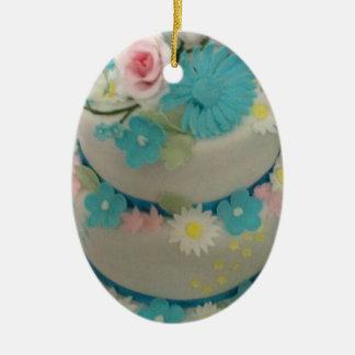 Gâteau d'anniversaire 1 ornement ovale en céramique