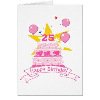 Gâteau d'anniversaire de 25 ans cartes de vœux