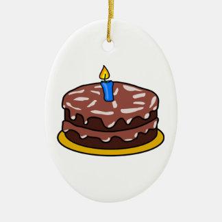 Gâteau d'anniversaire de chocolat ornement ovale en céramique