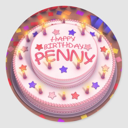 Gâteau d'anniversaire du penny autocollant