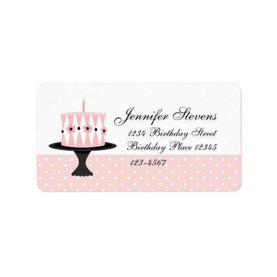 Gâteau d'anniversaire floral rose étiquettes d'adresse