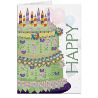"""Gâteau de """"joyeux anniversaire"""" et ballons - carte"""
