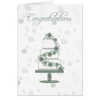 gâteau de mariage, félicitations de jour du carte de vœux