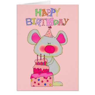 Gâteau de souris de joyeux anniversaire des filles carte de vœux
