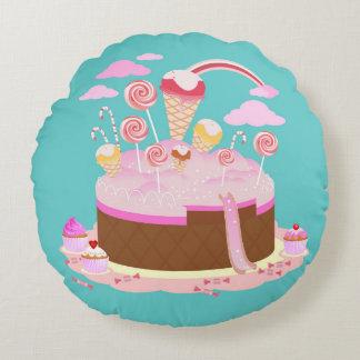 Gâteau de sucrerie et de chocolat pour la fête coussins ronds
