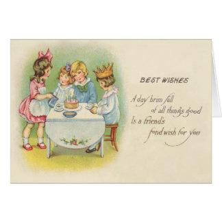 Gâteau mignon de fête d'anniversaire d'enfants carte de vœux
