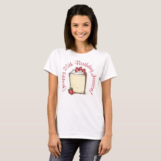 Gâteau personnalisé de fraise de partie de joyeux t-shirt
