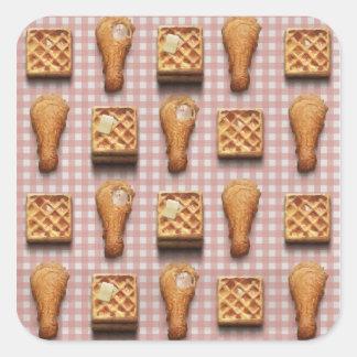 gaufres de poulet de guingan sticker carré