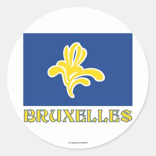 Gebied van de Vlag van Brussel met (Franse) Naam Ronde Stickers