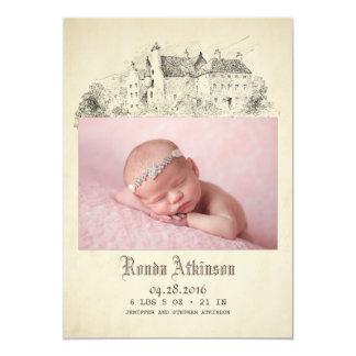 Geboorte van de Foto van het Baby van de Prinses 12,7x17,8 Uitnodiging Kaart