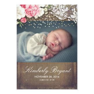 Geboorte van het Baby van de Foto van het Kant van 12,7x17,8 Uitnodiging Kaart