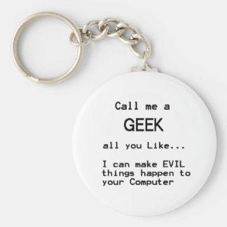 Geek d'ordinateur porte-clé rond