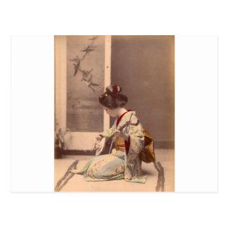 Geisha japonais vintage jouant le shamisen cartes postales