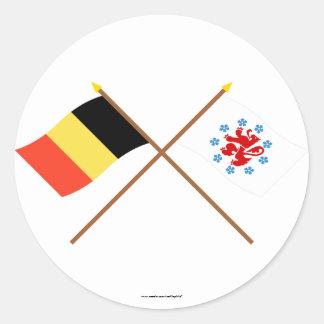 Gekruist België Duitstalige Communautaire Vlagge Sticker